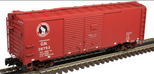 Atlas O  GN (red, logo only) 1937 style AAR 40' steel Double Door box car, 3 rail or 2 rail