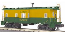 MTH Railking Scale Reading (green/ylw) Bay Window Caboose, 3 rail