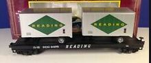 MTH Premier Reading Flat Car with (2) 20'  Reading Trailers, 3 rail