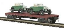 MTH Premier Erie 50-ton 41' Flatcar w/ (2) Ertl 32'Roadsters, 3 rail