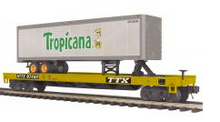 MTH Premier TTX Flat Car with Tropicana 40' Trailer, 3 rail