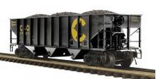 MTH Premier Chessie (C&O) 3-Bay 70ton Hopper w/ Coal Load, 3 rail