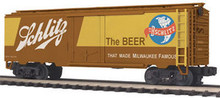 MTH Premier Schlitz Beer 40' Plug Door (bunkerless) Reefer, 3 rail
