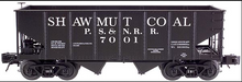 Atlas O special run  PS&N (Shawmut coal)  2 bay USRA  hopper, 3 rail