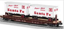 Lionel  Santa Fe   twin pup  trailers on  50'  wood deck flat car