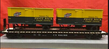 Lionel  C&NW   twin pup  trailers on  50'  wood deck flat car