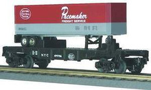 MTH Railking New York Central Flat Car with NYC Pacemaker Trailer, 3 rail