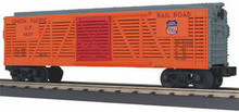 MTH Rail King Union Pacific stock car (orange/grey), 3 rail