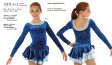 Mondor Skating Dress Style 12914 - Blue Flowers