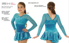 Mondor Skating Dress Style 12923 - Turquoise Ribbons