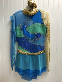 Gold/Blue/Green competition dress (pre-owned)