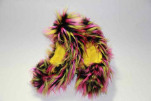 Black, Yellow and Hot Pink Crazy Fur