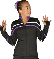 2-Tone Pipings Lt. Weight Fleece Jacket (White/Purple Stripes/Crystals)
