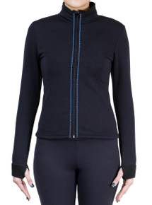 Fitted Skating Fleece Jacket with Rhinestones Stripe