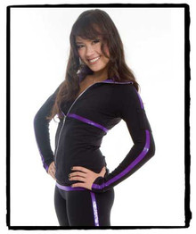 Style 186T: Microfiber Jacket Bodice + Sleeve Stripe (Purple Metallic), XXXS