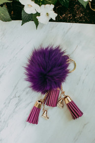 Fluffy & Purple Skate Keychain