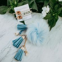 Fluffy & Light Blue Skate Keychain