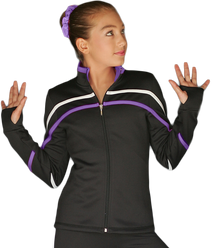 2-Tone Pipings Lt. Weight Fleece Jacket, White/Purple Stripes