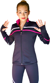2-Tone Pipings Lt. Weight Fleece Jacket, White/Fuchsia Stripes