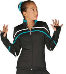 2-Tone Pipings Lt. Weight Fleece Jacket, White/Turquoise Stripes