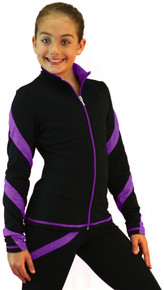 Colored Zipper Spiral Light Weight Fleece Jacket J636, Black/Purple