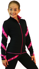 Spiral Skate Jacket J36SW, Black/Fuchsia with Swarovski Crystals Size Child XS