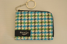 ICE PASS/CARD HOLDER - HOUNDSTOOTH - BLUE X GREEN