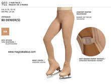 MONDOR STYLE: 00902 2 (TWO) PAIR PACK boot cover tights size 6-10