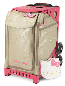 Go glam with Hello Kitty in whimsical, glimmering gold. This super-sparkly, winning bag ranks high in fashion … and function.