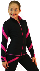 Colored Zipper Spiral Light Weight Fleece Jacket J636, Black/Fuchsia