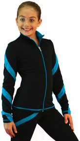 Colored Zipper Spiral Light Weight Fleece Jacket J636, Black/Turquoise