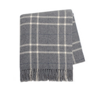 GRAY PLAID CASHMERE THROW