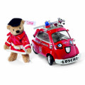 EAN 658129 Steiff mohair Fireman Teddy bear with Fireman Isetta model car, beige