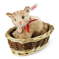 EAN 034374 Steiff mohair Ginny kitten in basket, red tabby