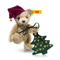 EAN 026782 Steiff mohair Nic Teddy bear with Christmas tree, cinnamon