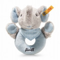 EAN 241710 Steiff plush Trampili elephant grip toy with rattle, gray/blue