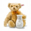 EAN 006753 Steiff mohair Sunflower Teddy bear with Rosenthal vase, blond