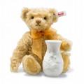 EAN 006753 Steiff mohair Sunflower Teddy bear with Rosenthal vase, blond