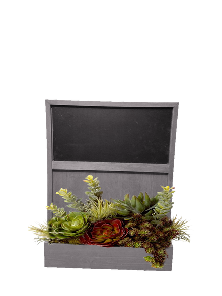 Chalkboard Key Rack Wall Planter - Barnwood