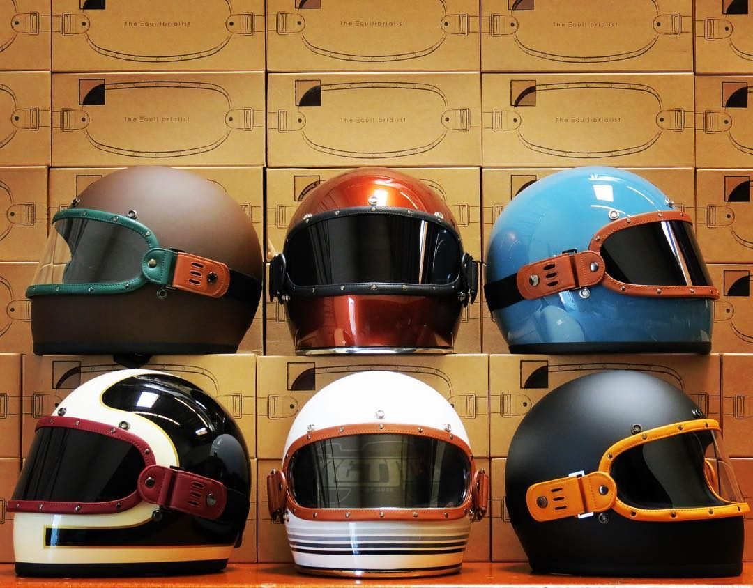 Equilibrialist Knox Maska visors on Biltwell Gringo helmets at the RetroBikeGear showroom