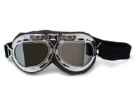RBG Aviator Goggle in Black with Chrome trim and Iridescent Mirrored Angled Lens