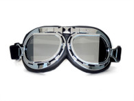 RBG Aviator Goggle in Black with Chrome trim and Mirrored Angled Lens