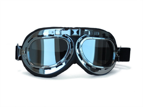 RBG Aviator Goggle in Black with Chrome trim and Mirrored Lens