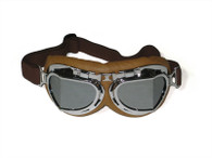 RBG Aviator Goggle in Tan with Chrome trim and Mirrored Angled Lens
