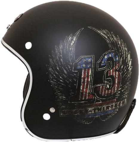 Torc DOT 3/4 Motorcycle Open Face Helmet in Flat Black with Wings graphics - Side View