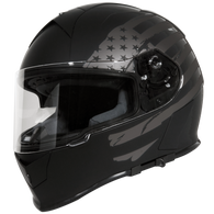 Torc T-14 Full Face Helmet in Flat Black with Black Flag Graphics - Left Side
