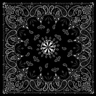 ZAN Headgear Cotton Bandanna with Black Paisley Pattern