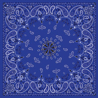 ZAN Headgear Cotton Bandanna with Navy Blue Paisley Pattern