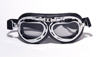 Aviator Goggles - Black/Chrome - Smoke Lens