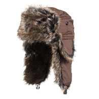Zan Trooper Hat in Brown with Brown Fur